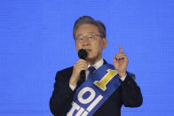 Gyeonggi Governor Lee Jae-myung, one of the ruling Democratic Party's contenders for next year's presidential election, speaks during the final campaign to choose the presidential election candidate in Seoul, South Korea, Sunday, Oct. 10, 2021. (Kim Hong-ji/Pool Photo via AP)