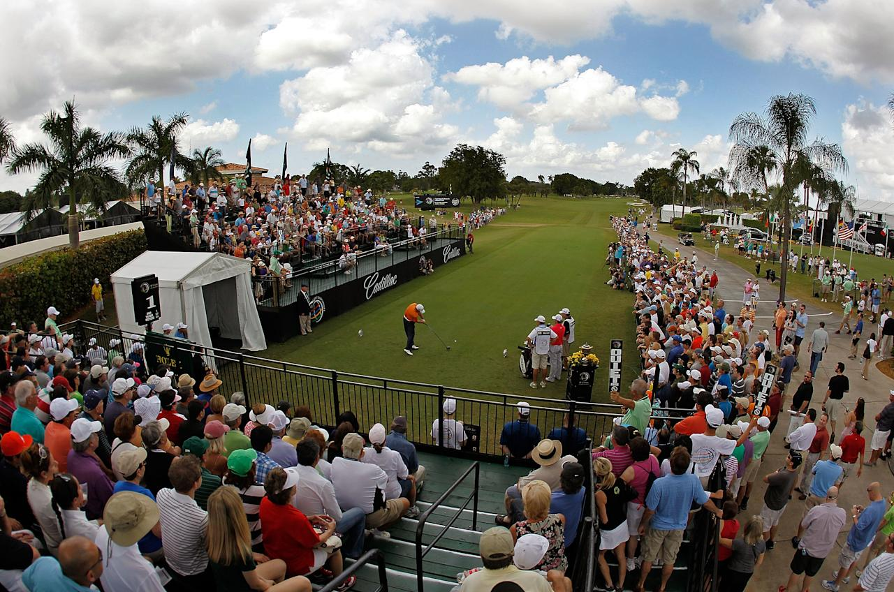 MIAMI, FL - MARCH 10:  Graeme McDowell of Northern Ireland hits his tee shot on the first hole during the third round of the World Golf Championship's Cadillac Championship at Doral Golf Resort And Spa on March 10, 2012 in Miami, Florida.  (Photo by Mike Ehrmann/Getty Images)