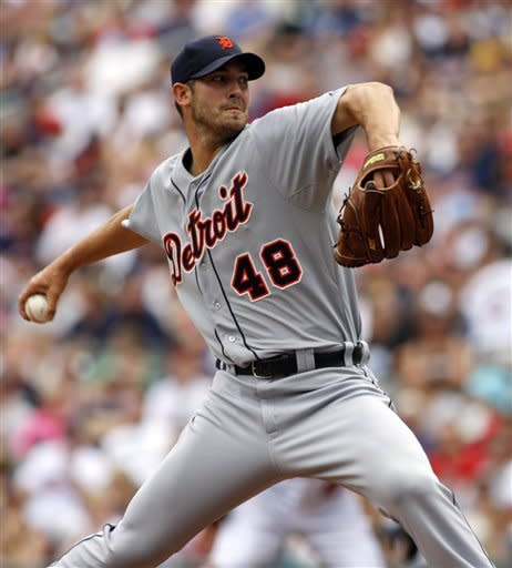 Detroit Tigers starting pitcher Rick Porcello (48) delivers against the Minnesota Twins during the first inning in a baseball game, Sunday, May 27, 2012, in Minneapolis. (AP Photo/Paul Battaglia)