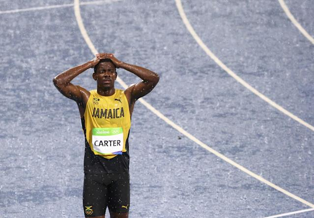 "<a class=""link rapid-noclick-resp"" href=""/olympics/rio-2016/a/1117175/"" data-ylk=""slk:Deuce Carter"">Deuce Carter</a> said he had never previously run in the rain. (Reuters)"