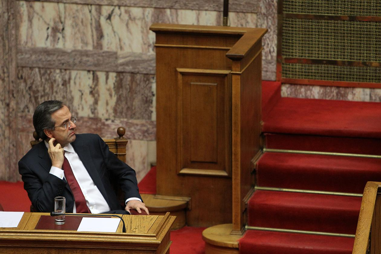 Greece's Prime Minister Antonis Samaras attends a parliament meeting for vote on 2013 country's budget in Athens.