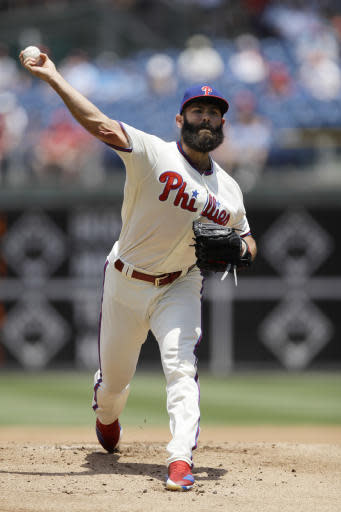 Philadelphia Phillies' Jake Arrieta pitches during the first inning of a baseball game against the St. Louis Cardinals, Wednesday, June 20, 2018, in Philadelphia. (AP Photo/Matt Slocum)