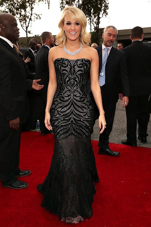 Carrie Underwood arrives at the 55th Annual Grammy Awards at the Staples Center in Los Angeles, CA on February 10, 2013.