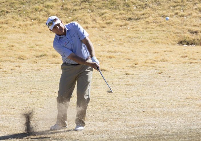 Scott Patel hits onto to the green during the second round of the 2021 Cologuard Classic golf tournament at the Omni Tucson National Resort on Saturday, Feb. 27, 2021. (Rick Wiley/Arizona Daily Star via AP)
