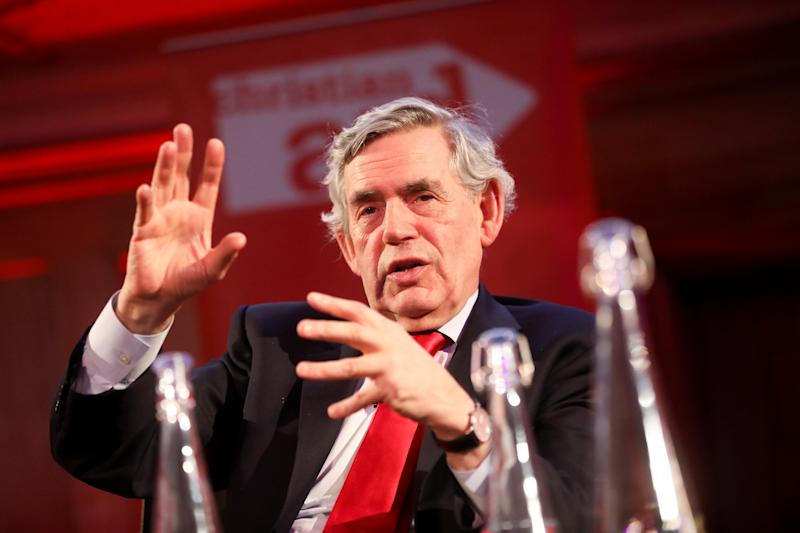 Britain's former Prime Minister Gordon Brown speaks during a Christian Aid Week event in London, Britain May 12, 2019. REUTERS/Simon Dawson