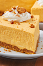 """<p>This <a href=""""https://www.delish.com/uk/cooking/recipes/a32090244/easy-no-bake-cheesecake-recipe/"""" rel=""""nofollow noopener"""" target=""""_blank"""" data-ylk=""""slk:no-bake cheesecake"""" class=""""link rapid-noclick-resp"""">no-bake cheesecake</a> is a major time saver. The gingersnap crust is a must and adds that extra layer of flavour. Gently fold the fresh whipped cream into the batter so you don't loose it's beautiful volume. You can make this cheesecake a couple of days ahead of time and it even freezes well. We love it straight from the freezer, which will make for prettier slices.</p><p>Get the <a href=""""https://www.delish.com/uk/cooking/recipes/a34039445/easy-no-bake-pumpkin-cheesecake-recipe/"""" rel=""""nofollow noopener"""" target=""""_blank"""" data-ylk=""""slk:No-Baked Pumpkin Cheesecake"""" class=""""link rapid-noclick-resp"""">No-Baked Pumpkin Cheesecake</a> recipe.</p>"""