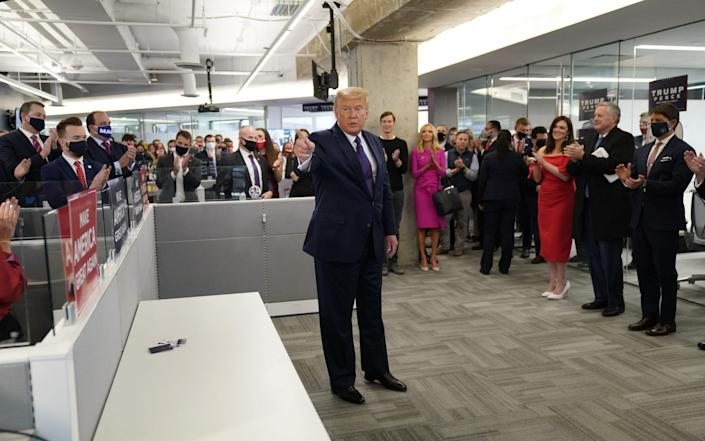 US President Donald J. Trump visits campaign workers at the RNC Annex in Arlington, Virginia - Chris Kleponis/POOL/EPA-EFE/Shutterstock /Shutterstock