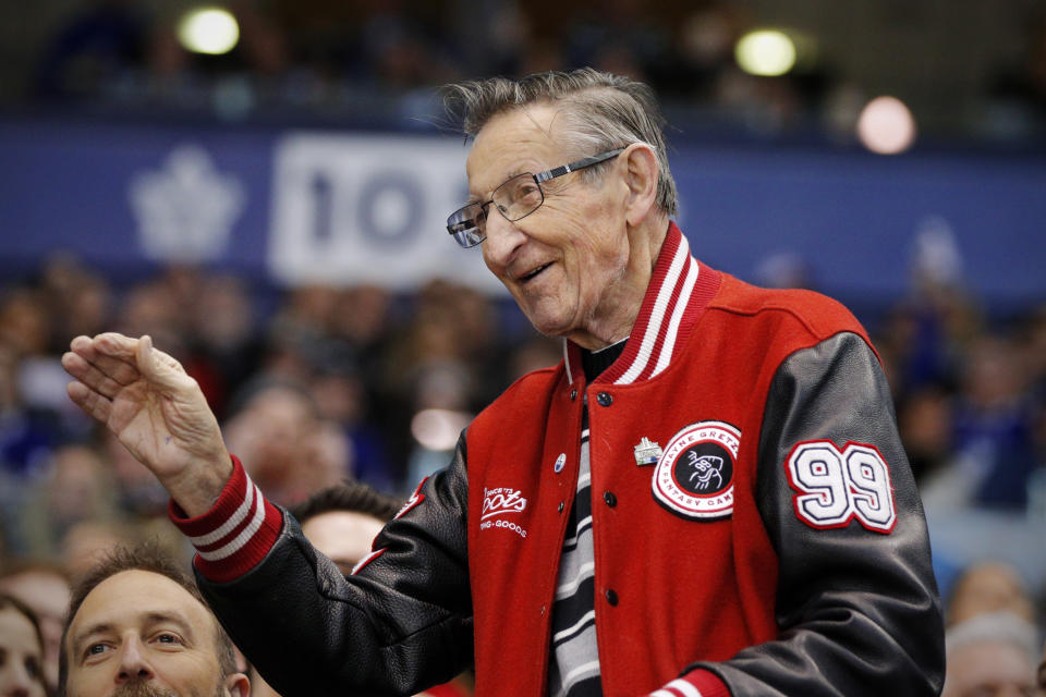TORONTO, ON - APRIL 07: 80 year-old father of Hockey Great Wayne Gretzky, Walter Gretzky waves to fans during the first period in the final NHL 2018 regular-season game between the Montreal Canadiens and the Toronto Maple Leafs on April 7, 2018 at Air Canada Centre in Toronto, ON., Canada. (Photo by Jeff Chevrier/Icon Sportswire via Getty Images)