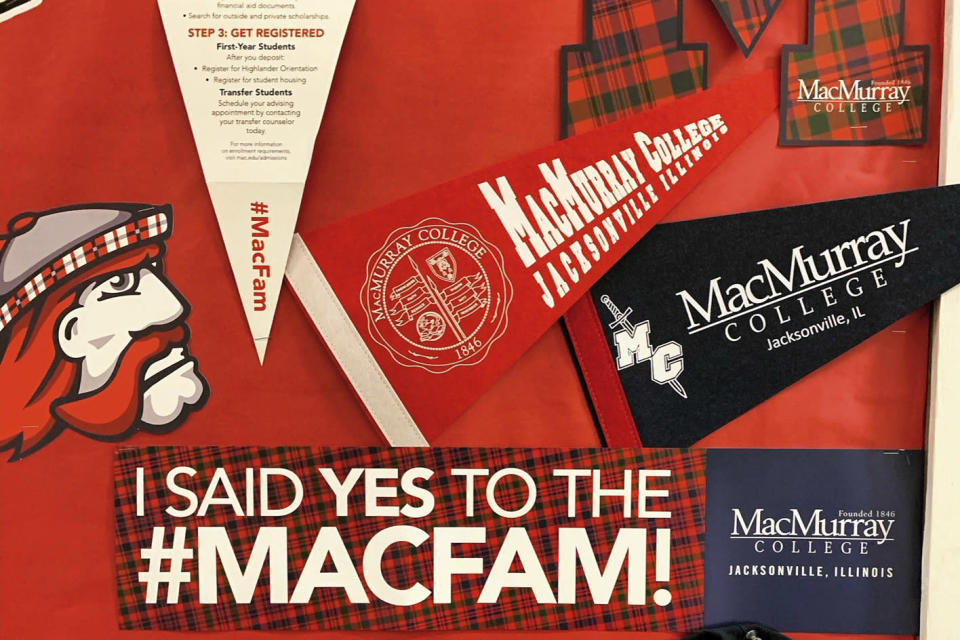 "This January 2020 photo provided by Jamie Bolker shows pennants and other MacMurray College paraphanelia in Jacksonville, Ill. When Bolker started teaching composition at MacMurray College in January 2020, she felt like she'd won the lottery. In March, though, she delivered a grim Twitter announcement: ""Welp. MacMurray College is permanently closing ... They were already on the edge and coronavirus was the final nail."" (Jamie Bolker via AP)"