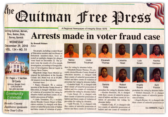 The voter fraud arrests story on the front page of The Quitman Free Press in 2010.