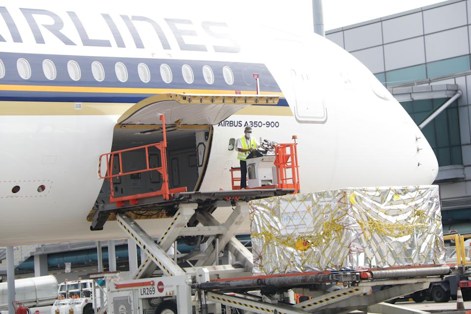 Cargo transportation at Changi Airport. (PHOTO: Singapore Airlines)