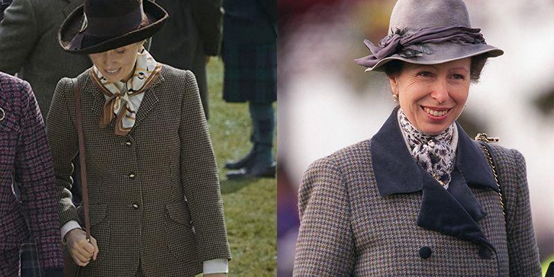 <p>Over the past few decades Princess Anne's style remains timeless and consistent. That could be why <em>The Crown</em> decided to dress actress Erin Doherty in a tweed blazer and silk printed scarf– very similar to what she wore to the Cheltenham Races in 1997. </p>
