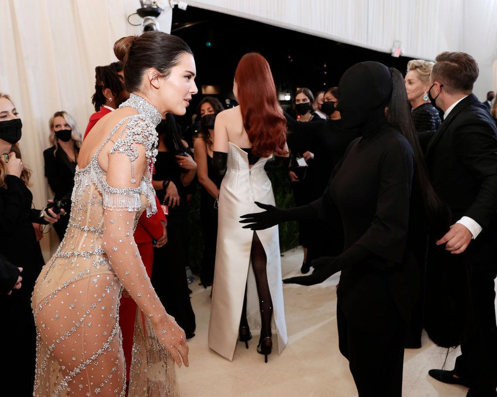 This image of Kendall Jenner and Kim Kardashian at the Met gala went viral. (Getty Images)
