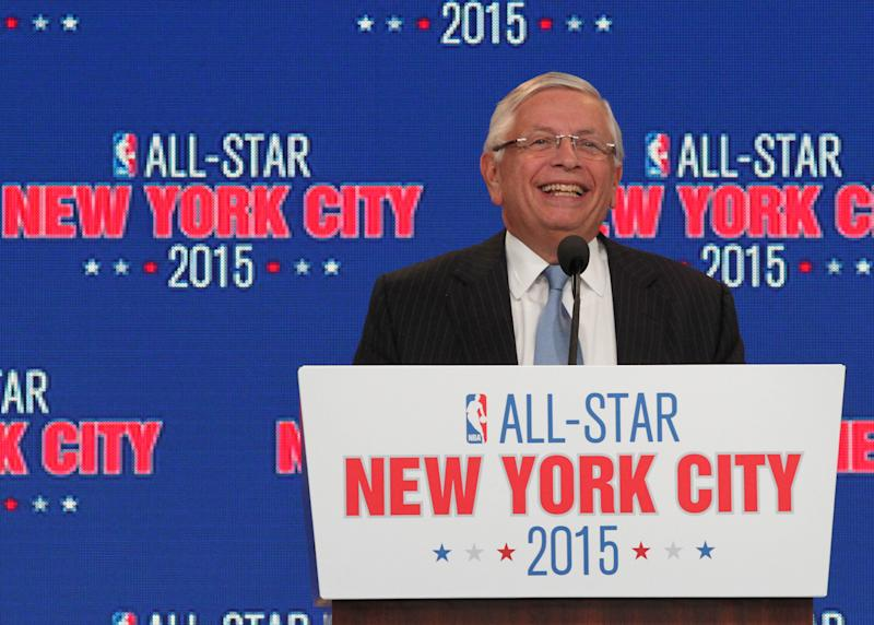 NBA commissioner David Stern smiles as he speaks during a press conference Wednesday Sept. 25, 2013, in New Yor,k announcing the selection of New York City to host NBA All-Star 2015. The 64th NBA All-Star game is scheduled to be played at New York's Madison Square Garden Sunday Feb. 15, 2015, with Friday and Saturday night events being held at the Barclays Center in the Brooklyn borough of New York. (AP Photo/Tina Fineberg)
