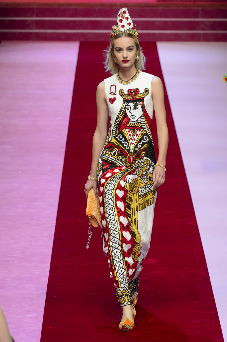 "<p><i>""Queen of Hearts"" sequined, embroidered dress from the SS18 Dolce & Gabbana collection. (Photo: ImaxTree) </i></p>"