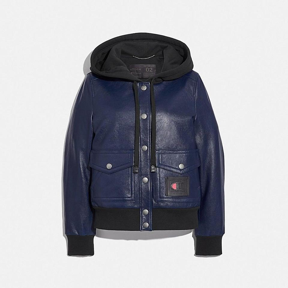 <p><span>Coach x Champion Super Fleece Hooded Leather Jacket</span> ($1,250)</p>