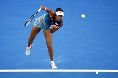 Tennis - Australian Open - Women's Singles Final - Melbourne Park, Melbourne, Australia, January 26, 2019. Japan's Naomi Osaka in action during her match against Czech Republic's Petra Kvitova. REUTERS/Edgar Su