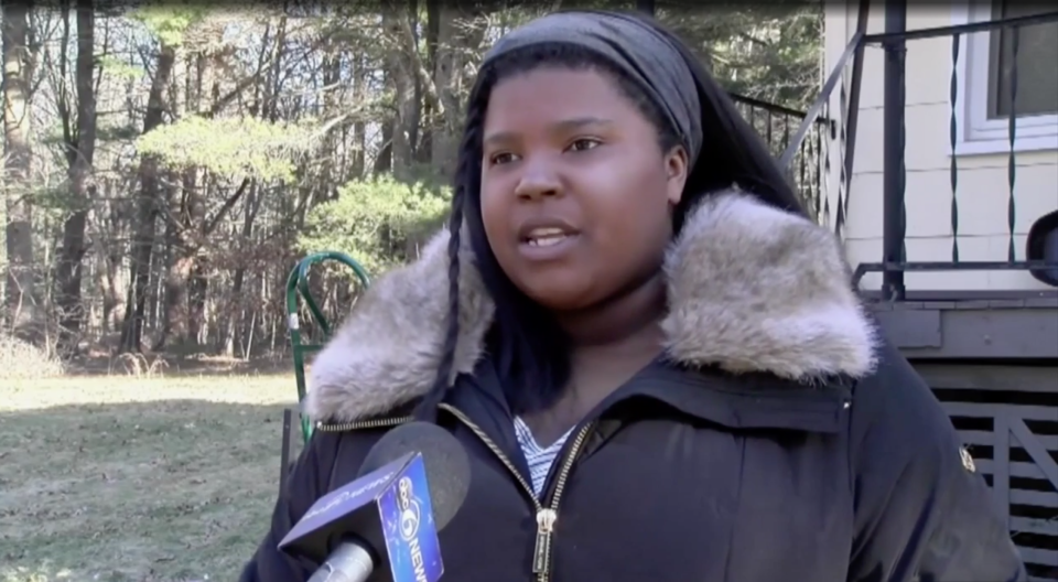 Bridgewater State University student Elisabeth Philippe received a racist Tinder message from another student. Now the police and the university are investigating. (Image: WHDH)