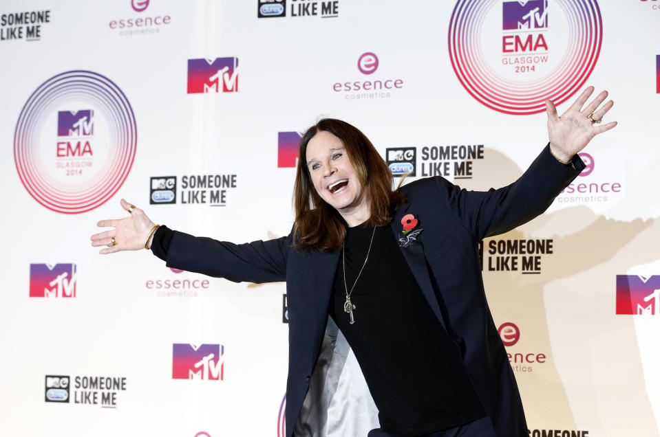 Ozzy Osbourne poses after performing during the 2014 MTV Europe Music Awards at the SSE Hydro Arena in Glasgow, Scotland, November 9, 2014.       REUTERS/Russell Cheyne (BRITAIN  - Tags: ENTERTAINMENT)
