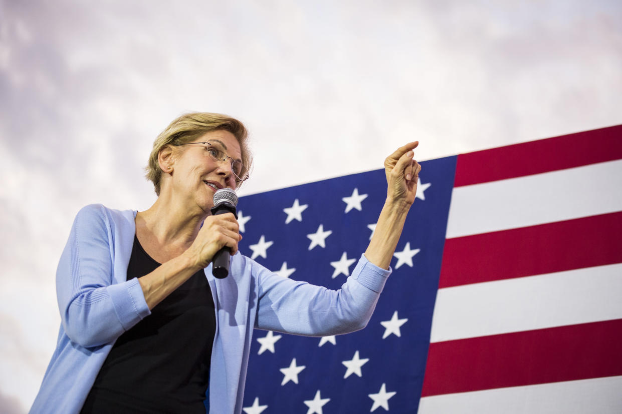 Sen. Elizabeth Warren (D-Mass.), a Democratic presidential candidate, speaks at a town hall in Iowa City on Sept. 19, 2019. (Kathryn Gamble/The New York Times)
