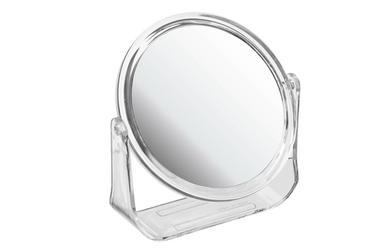 "<p><a rel=""nofollow"" href=""http://www.poundland.co.uk/health-and-beauty/make-up-gallery/make-up-accessories/make-up-gallery-double-sided-mirror-stand""><i>Poundland, £1</i></a><br /><br /></p>"