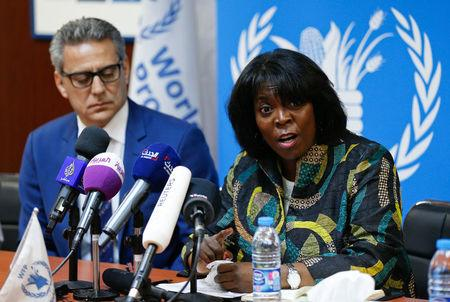 REFILE - Ertharin Cousin (R), Executive Director of the United Nations World Food Programme, speaks during a news conference discussing the latest challenges the agency is facing in Yemen, in ?Amman, Jordan, March 13, 2017. REUTERS/Muhammad Hamed