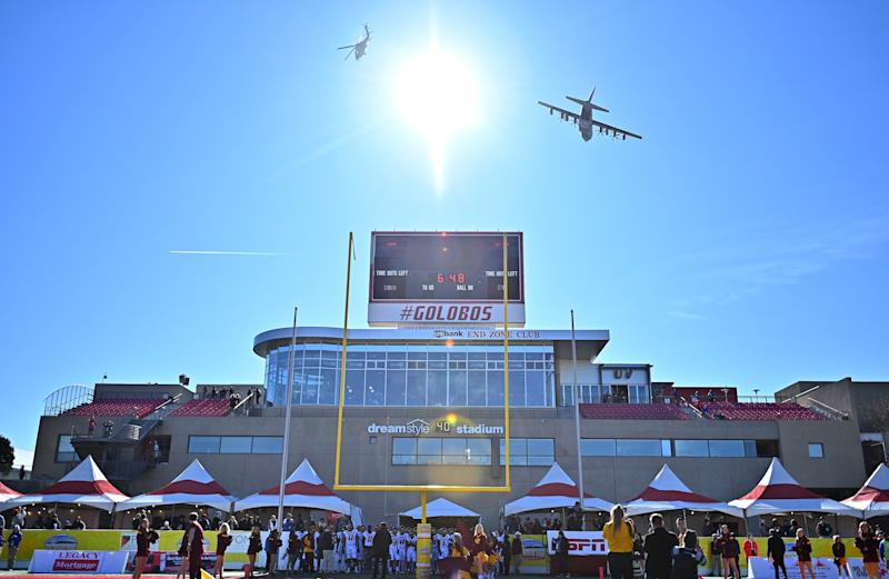 ALBUQUERQUE, NEW MEXICO - DECEMBER 21: Aircraft from Kirtland Air Force Base perform a flyover before the New Mexico Bowl game between the Central Michigan Chippewas and the San Diego State Aztecs at Dreamstyle Stadium on December 21, 2019 in Albuquerque, New Mexico. (Photo by Sam Wasson/Getty Images)