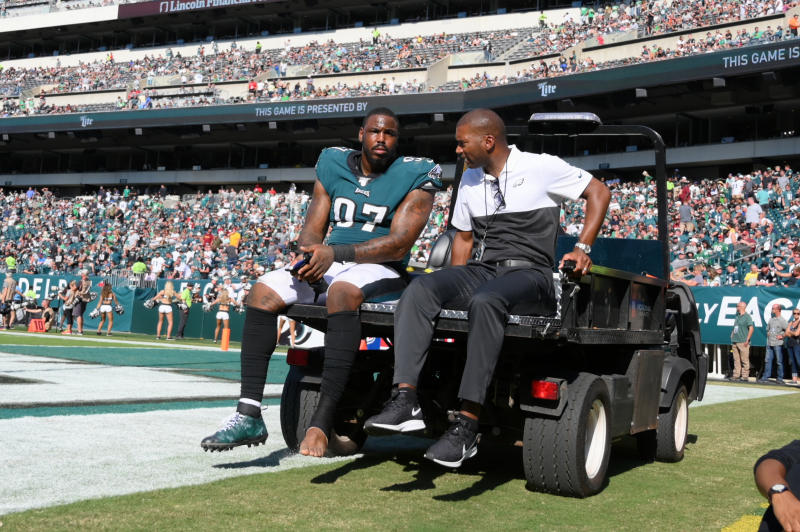 Eagles' DT Malik Jackson will reportedly miss the rest of the season after a foot injury on Sunday. (Getty Images)
