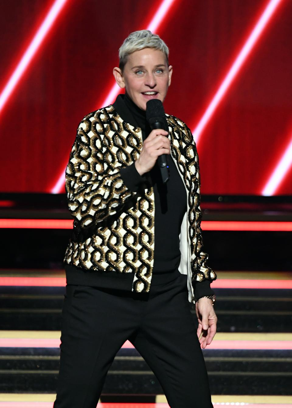 Ellen DeGeneres speaks onstage during the 62nd Annual GRAMMY Awards at STAPLES Center on January 26, 2020 in Los Angeles, California. (Photo by Kevin Winter/Getty Images for The Recording Academy )