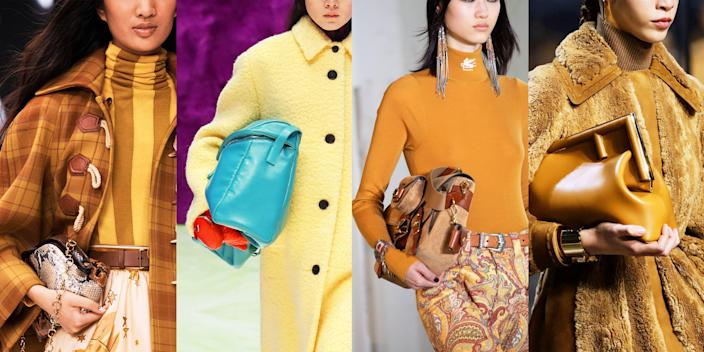 """<p>As we approach a year in lockdown, the <a href=""""https://www.marieclaire.com/fashion/g35599809/fall-fashion-trends-2021/"""" rel=""""nofollow noopener"""" target=""""_blank"""" data-ylk=""""slk:fall 2021 fashion runways"""" class=""""link rapid-noclick-resp"""">fall 2021 fashion runways</a> cast a beacon of optimism, with clothes intended to be worn out, not solely in the comfort of our own homes. This doesn't mean that practicality and comfort weren't top of mind for designers, but the luxurious materials, colors and details beg to be shown off in public. The trends in handbags are ones that aren't so foreign. From retro, metal-framed shapes to utility-focused messenger bags, we know these styles well and we still really love them. They are staples that have transcended eras and seasons and strengthen their positions as <a href=""""https://www.marieclaire.com/the-essentials/"""" rel=""""nofollow noopener"""" target=""""_blank"""" data-ylk=""""slk:essentials"""" class=""""link rapid-noclick-resp"""">essentials</a> every woman should aim to have in her closet. Veering away from the impractical, the idea of <a href=""""https://www.marieclaire.com/fashion/g31080834/designer-bags-investment/"""" rel=""""nofollow noopener"""" target=""""_blank"""" data-ylk=""""slk:investment handbag shopping"""" class=""""link rapid-noclick-resp"""">investment handbag shopping</a> is reinforced by the designers who put these down the runway. It's a time to reflect and celebrate the past while we carry our belongings into into a better future.</p>"""