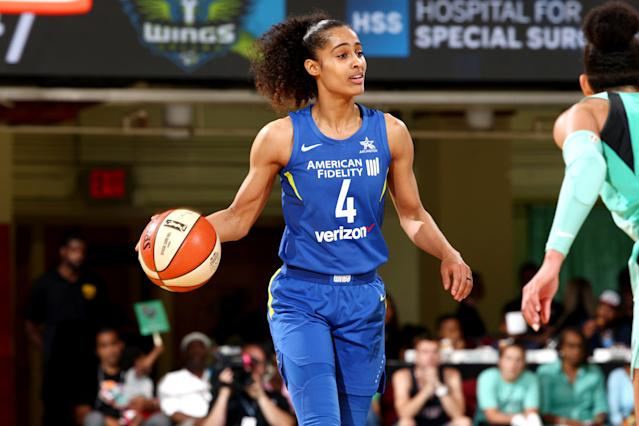 "<a class=""link rapid-noclick-resp"" href=""/wnba/players/5059/"" data-ylk=""slk:Skylar Diggins-Smith"">Skylar Diggins-Smith</a> is a three-time WNBA All-Star and one of the league's most marketable talents. (Getty Images)"