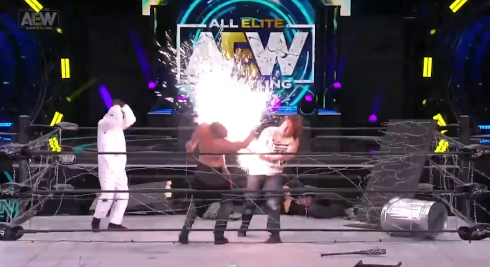 Omega nails Moxley with an exploding barbed wire batAEW