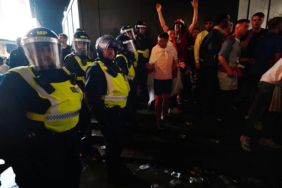 England fans clashed with police in Piccadilly Circus, central London, after England lost the final (Victoria Jones/PA) (PA Wire)
