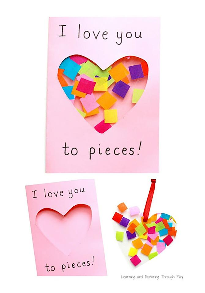 """<p>This super cute card also acts as a suncatcher. </p><p><strong>Get the tutorial at <a rel=""""nofollow"""" href=""""https://www.learningandexploringthroughplay.com/2017/01/love-you-to-pieces-suncatcher-card.html"""">Learning and Exploring Through Play</a>. </strong><br></p>"""