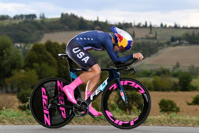 IMOLA ITALY SEPTEMBER 24 Chloe Dygert of The United States during the 93rd UCI Road World Championships 2020 Women Elite Individual Time Trial a 317km stage from Imola to Imola ITT ImolaEr2020 Imola2020 on September 24 2020 in Imola Italy Photo by Tim de WaeleGetty Images