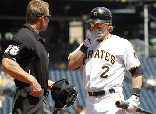 Pittsburgh Pirates' Nate McLouth (2) talks with home plate umpire Jim Wolf after he was called out on strikes with the bases loaded to end the first inning of the baseball game against the Cincinnati Reds on Sunday, May 6, 2012, in Pittsburgh. (AP Photo/Keith Srakocic)