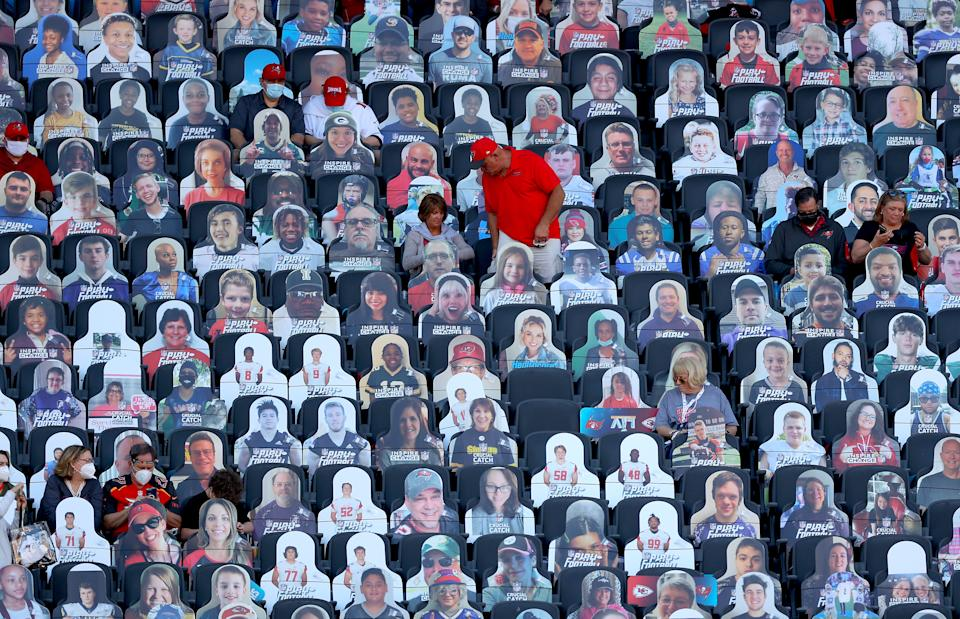 Cardboard cut outs of fans are seen prior to a game between the Tampa Bay Buccaneers and the Kansas City Chiefs in Super Bowl LV at Raymond James Stadium on February 07, 2021 in Tampa, Florida. (Photo by Kevin C. Cox/Getty Images)