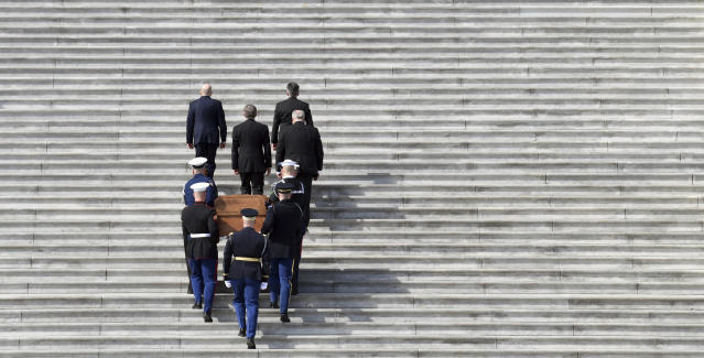 <p>The casket of Rev. Billy Graham is carried up the steps of the U.S. Capitol in Washington, Wednesday, Feb. 28, 2018, where it will lie in honor in the Rotunda. I (Photo: Susan Walsh, Pool/AP) </p>