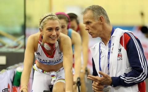 Laura Kenny of Great Britain chats to British Cycling Coach Shane Sutton as she warms up for Women's Team Pursuit qualifying session on day one of the UCI Track Cycling World Cup at the Sir Chris Hoy Velodrome on November 16, 2012 in Glasgow, Scotland - Credit: Getty Images