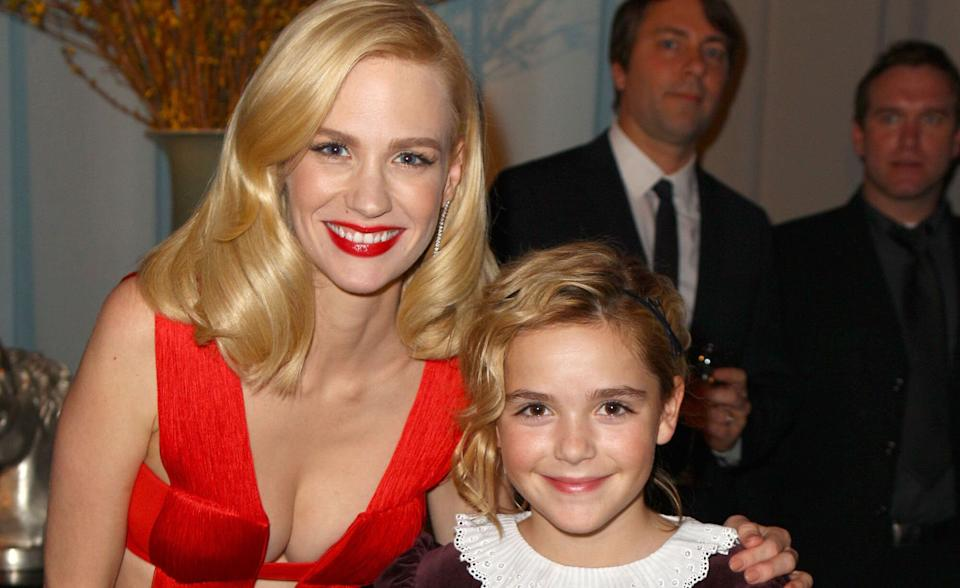 Actors January Jones and Kiernan Shipka attend AMC's 2011 Golden Globe Awards viewing and after party held at The Beverly Hilton hotel on Jan. 16, 2011 in Los Angeles, California. (Photo: Joe Scarnici/Getty Images)