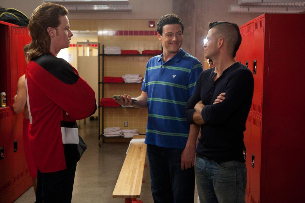 "Rick the Stick (Rock Anthony) loses a bet to Finn (Cory Monteith) and Puck (Mark Salling) in the second hour of a special two-hour ""Props/Nationals"" episode of ""Glee."""