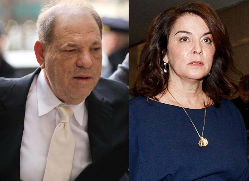 """A second day of testimony in Harvey Weinstein's sex-crimes trial began Jan. 23, 2020, with the first accuser to take the stand, Annabella Sciorra, the """"Sopranos"""" actress who choked up as she described how Weinstein raped her in her New York apartment in the winter of 1993-94 and later told her in a """"threatening"""" way not to tell anyone."""