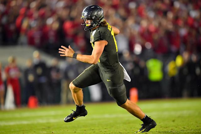 Oregon QB Justin Herbert makes sense for a lot of NFL teams in 2020. (Photo by Alika Jenner/Getty Images)