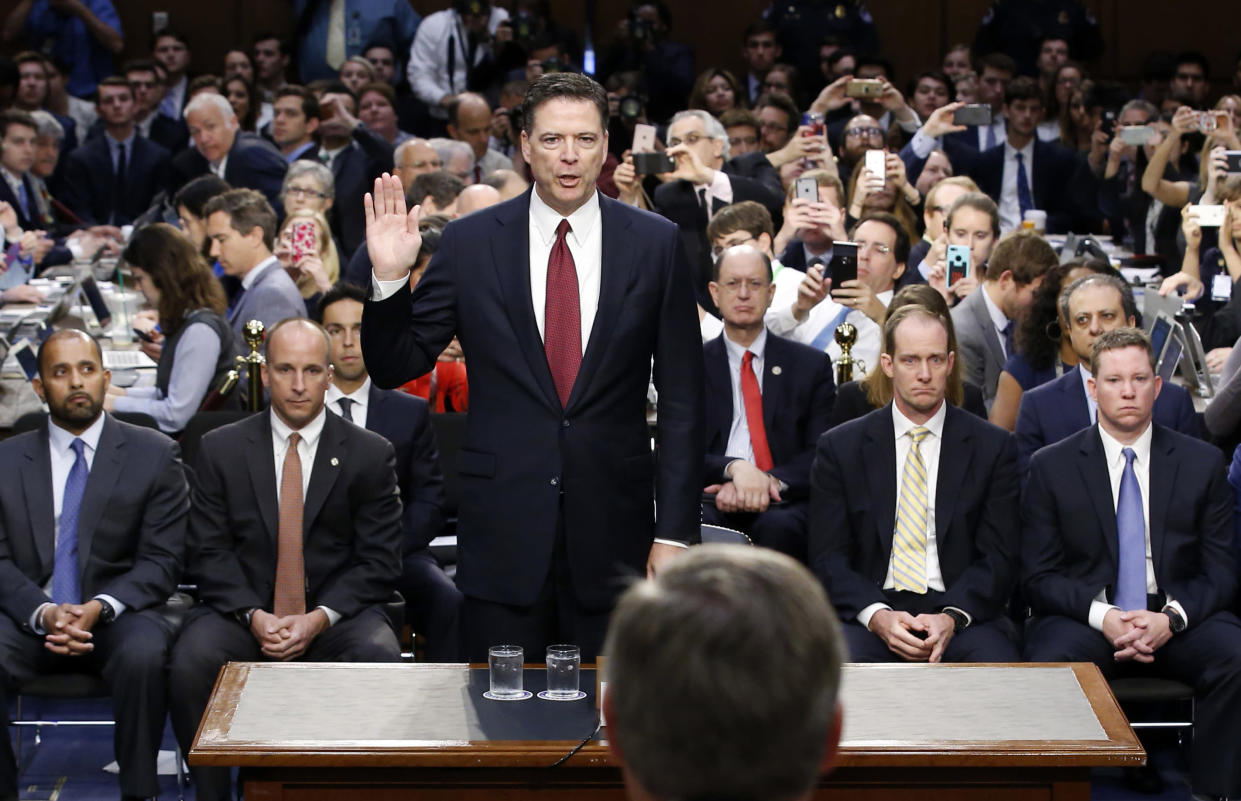 Former FBI Director James Comey is sworn in during a Senate Intelligence Committee hearing on Capitol Hill on June 8, 2017, in Washington. (Photo: Alex Brandon, Pool/AP)