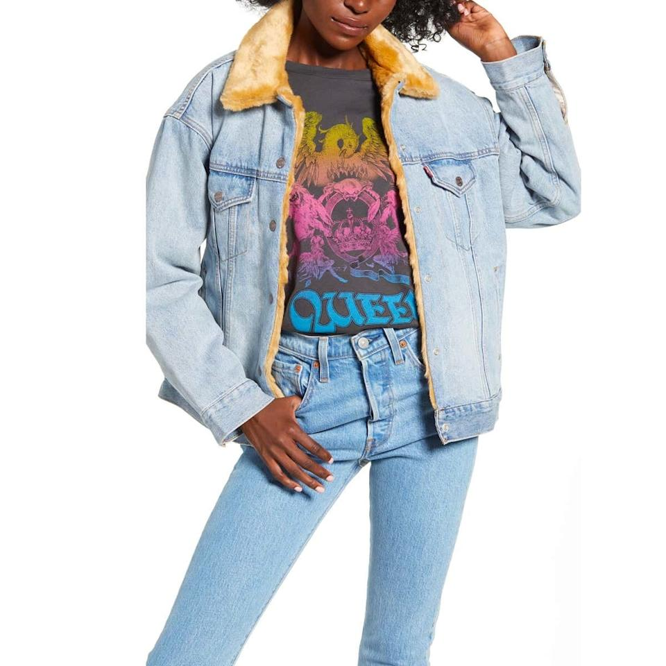 """Indecisive dressers shouldn't resist the stylish convenience of this reversible jacket from Levi's—it's the best of both worlds. $168, Nordstrom. <a href=""""https://shop.nordstrom.com/s/levis-oversize-reversible-faux-fur-denim-trucker-jacket/5356348/full"""">Get it now!</a>"""
