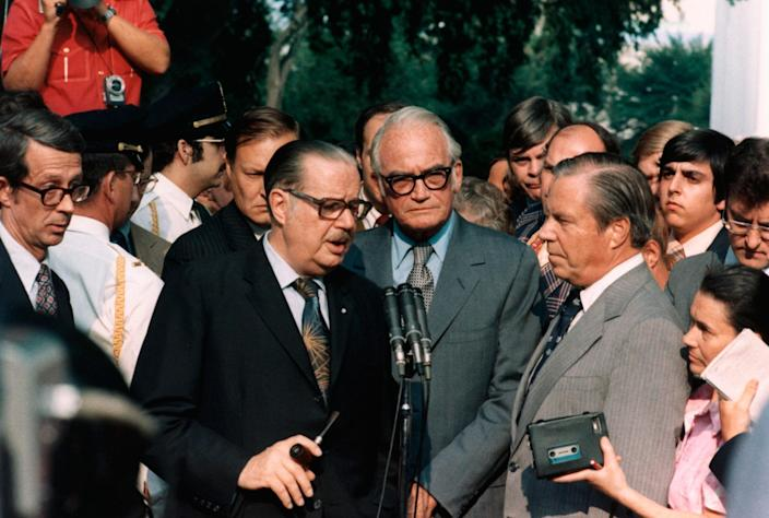 <p>Sen. Hugh Scott, Sen. Barry Goldwater and Rep. John Rhodes briefing the press after meeting with President Nixon a few days before his resignation. (Photo: Corbis via Getty Images) </p>