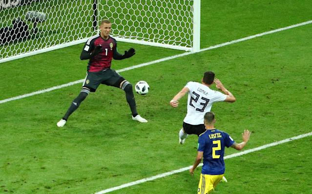 Soccer Football - World Cup - Group F - Germany vs Sweden - Fisht Stadium, Sochi, Russia - June 23, 2018 Germany's Mario Gomez misses a chance to score before play is called back for offside REUTERS/Hannah McKay