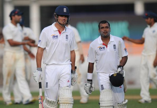 MUMBAI, INDIA - OCTOBER 31:  Samit Patel of England (R) and team captain Alastair Cook walk back to the pavilion at the end of the days play on second day of the first practice match between England and India 'A' at the CCI (Cricket Club of India) ground, on October 31, 2012 in Mumbai, India.  (Photo by Pal Pillai/Getty Images)