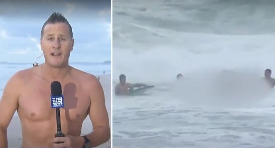 Nine News weatherman Luke Bradnam shirtless after helping to pull in a swimmer struggling in the water