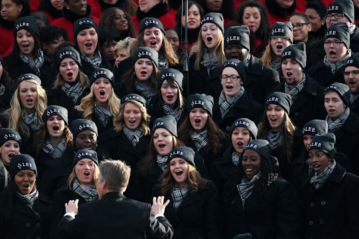 Lee University Choir from Cleveland, TN performs in the bleachers during the presidential inauguration on the West Front of the U.S. Capitol January 21, 2013 in Washington, DC. Barack Obama was re-elected for a second term as President of the United States. (Photo by Justin Sullivan/Getty Images)